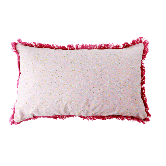Rice - Cotton Cushion Rectangular 50 x 30 cm -  Pink Small Flower Print