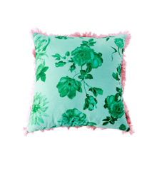 Rice - Pude 40 x 40 cm -  Pink Grøn Rose Print