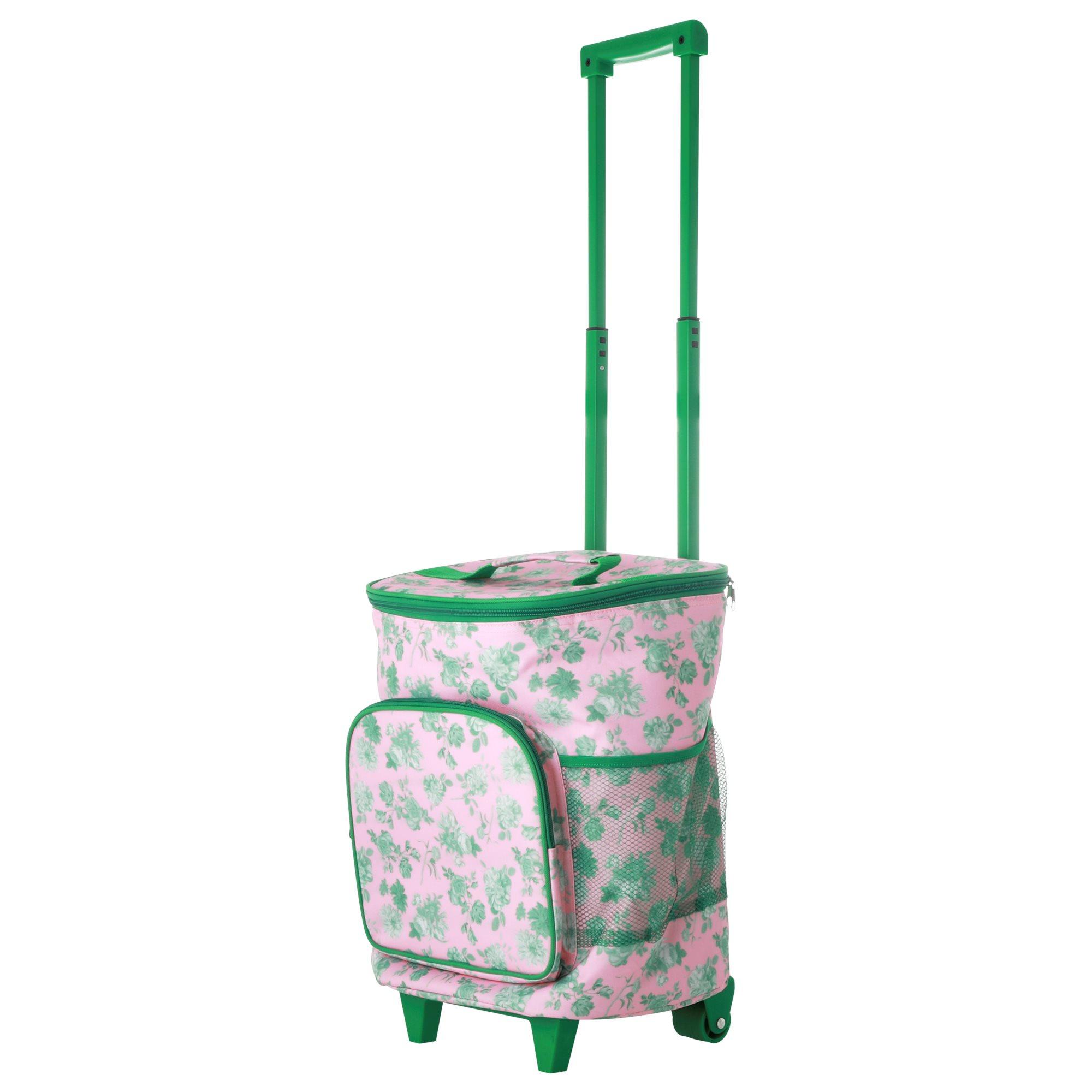 Rice - Trolley Cooler Bag w. Pink Green Rose Print - 22 L