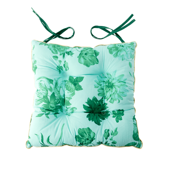 Rice - Chair Cushion - Green Rose Print