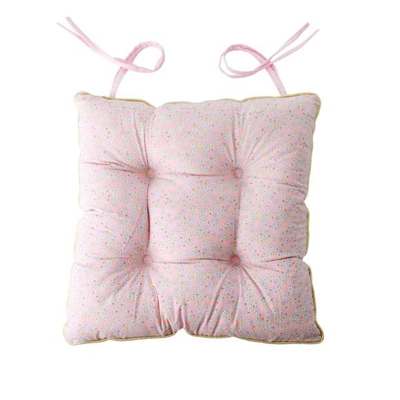 Rice - Chair Cushion - Pink Small Flower Print