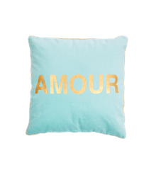 Rice - Velvet Square Cushion - Mint w. Gold AMOUR