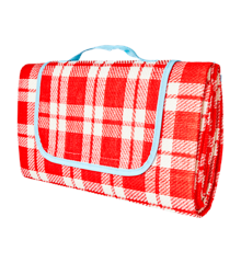 Rice - Picnic Blanket w. Water Resistant Backside - Red & Creme