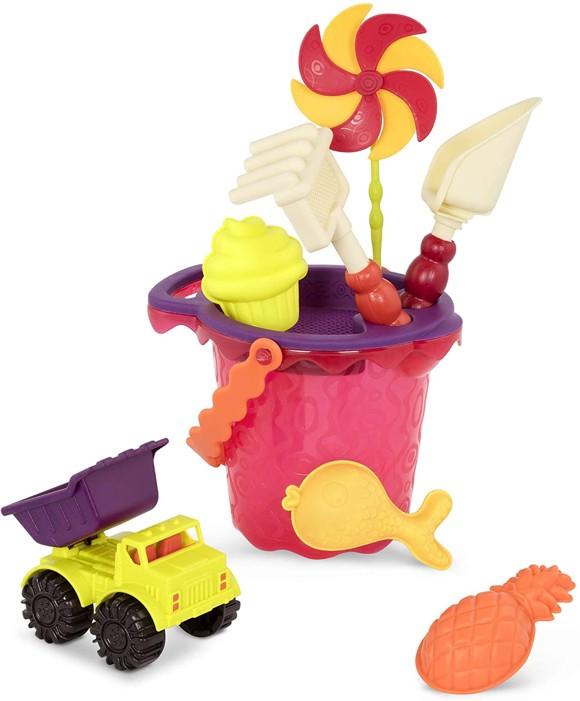 B. Toys - Sands Ahoy – Beach Playset - Medium Bucket Set, Red (1331)