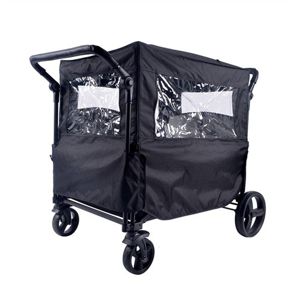 Babytrold - Fun Trolley Rain Cover w. Windows - Black
