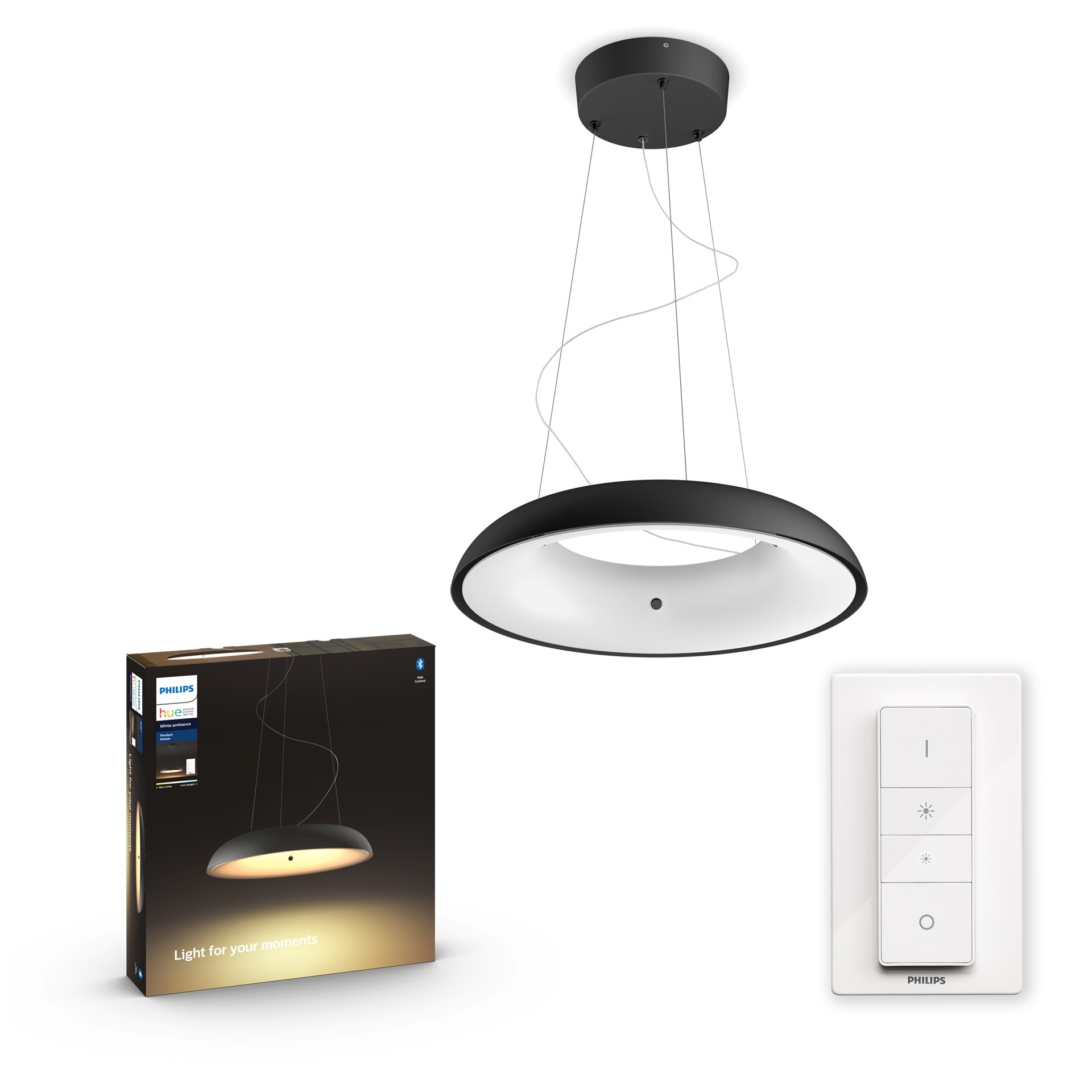 Philips Hue Amaze Hue pendant black 1x39W 24V White Ambiance Bluetooth Dimmer Included