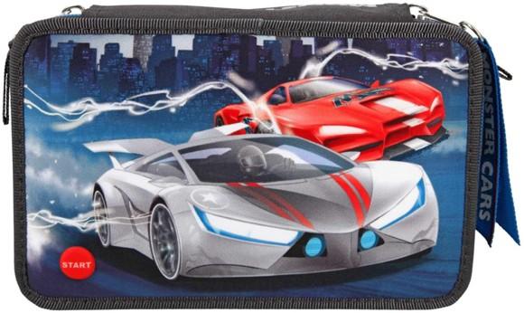 Monster Cars - Tripple Pencil Case w/LED (411067)