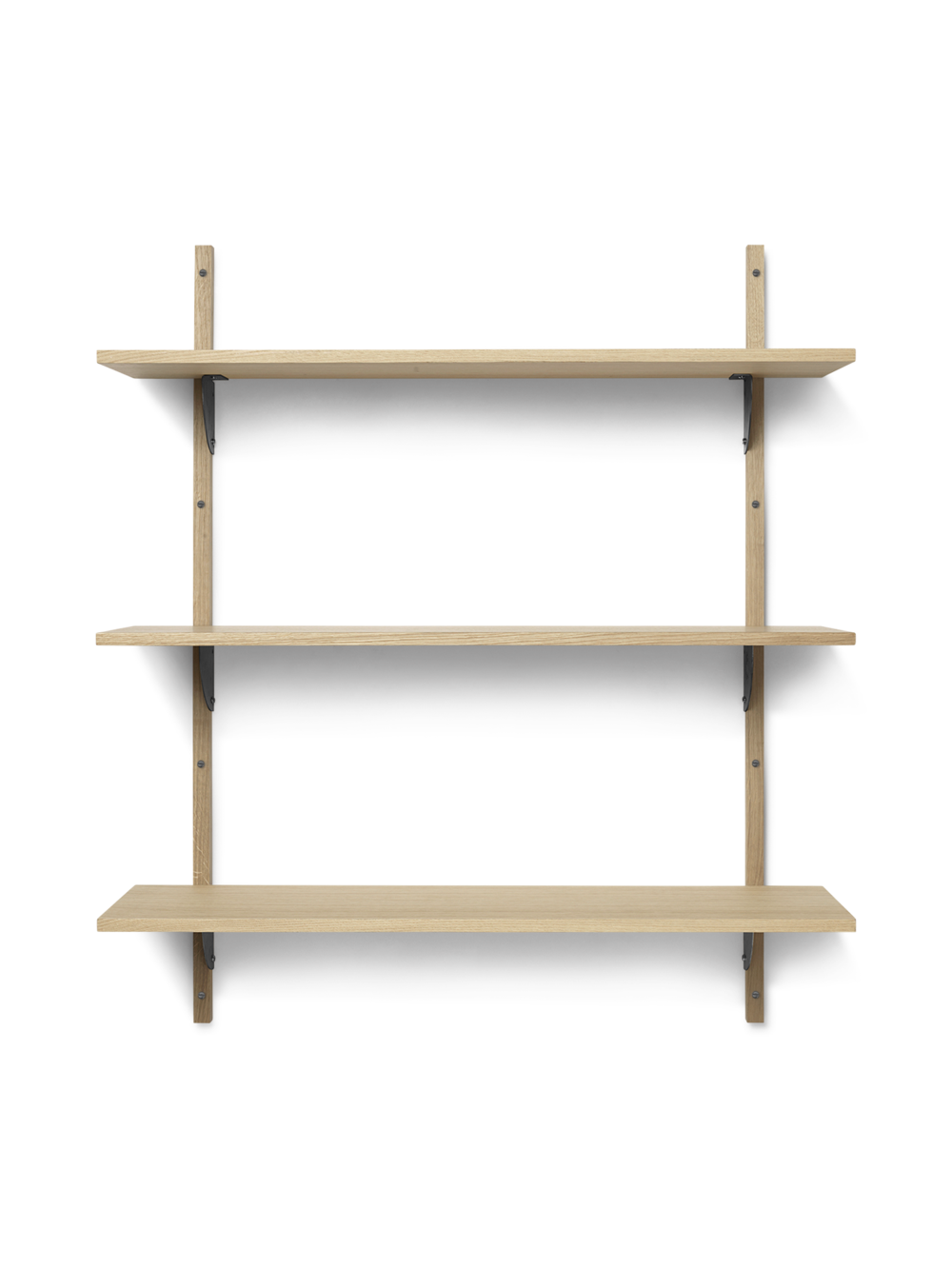 Ferm Living - Sector Shelf L/L - Natural Oak/Black Brass (1103482859)