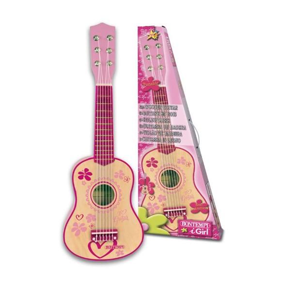 Bontempi - Small pink wooden guitar, 55 cm (225572)