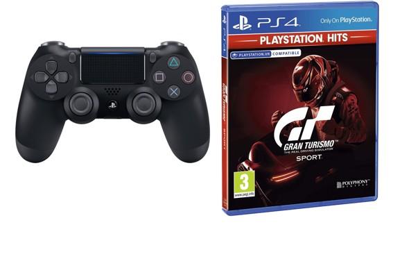 Sony Dualshock 4 Controller v2 - Black + Gran Turismo: Sport (Playstation Hits) (Nordic)