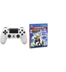 Sony Dualshock 4 Controller v2 - White + Ratchet & Clank (Playstation Hits) (Nordic)