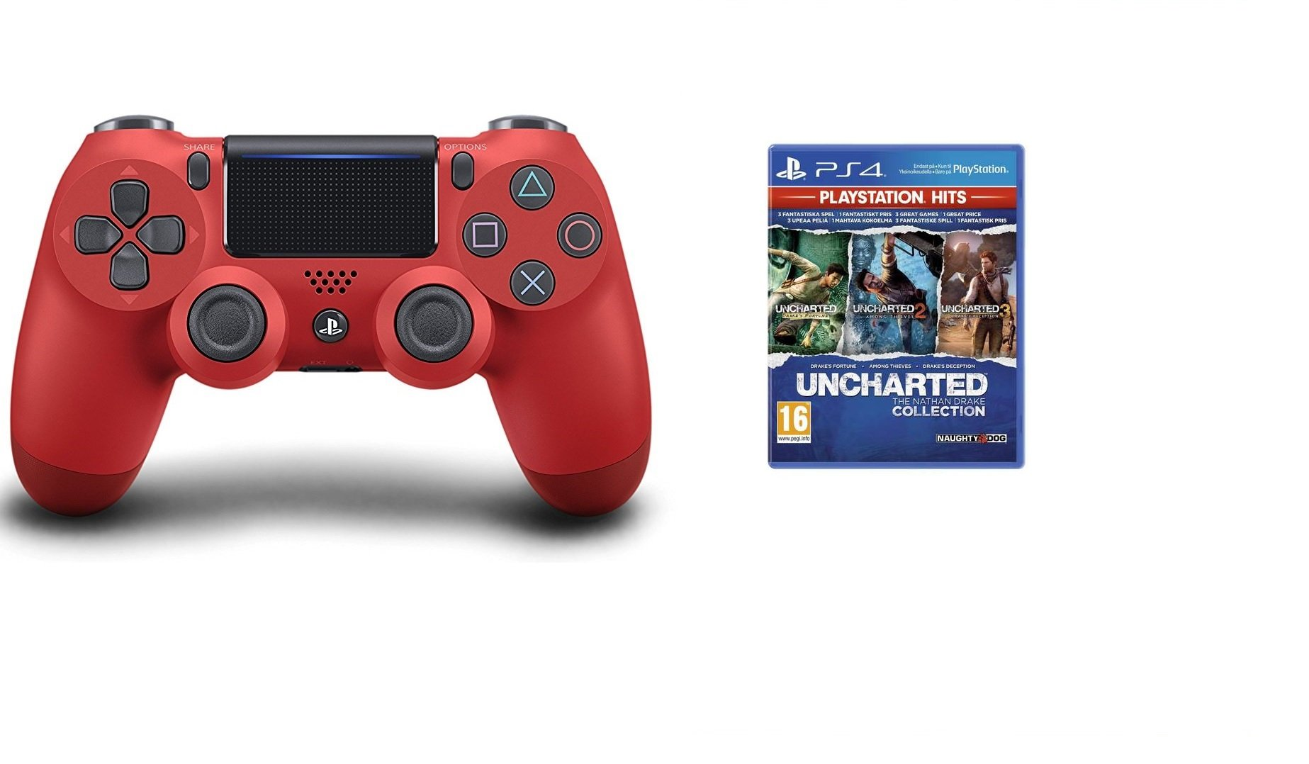 Sony Dualshock 4 Controller v2 - Red + Uncharted: The Nathan Drake Collection (Playstation Hits) (Nordic)