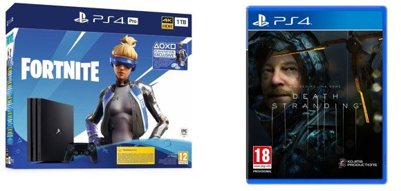 Playstation 4 Pro Console - 1 TB (Fortnite Bundle) (Nordic) + Death Stranding (Fornite Code Expired) (Nordic)