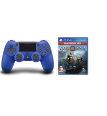 Sony Dualshock 4 Controller v2 - Blue + God of War (PlayStation Hits) (Nordic)