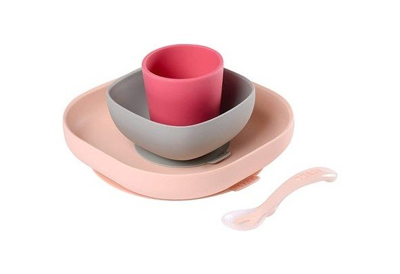 Béaba - Silicone Meal Set 4 Pcs - Pink
