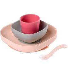Béaba - Silicone Spisesæt 4 Stk - Pink