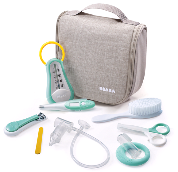 Béaba - Hanging Toiletry Pouch w. 9 Accessories - Grey