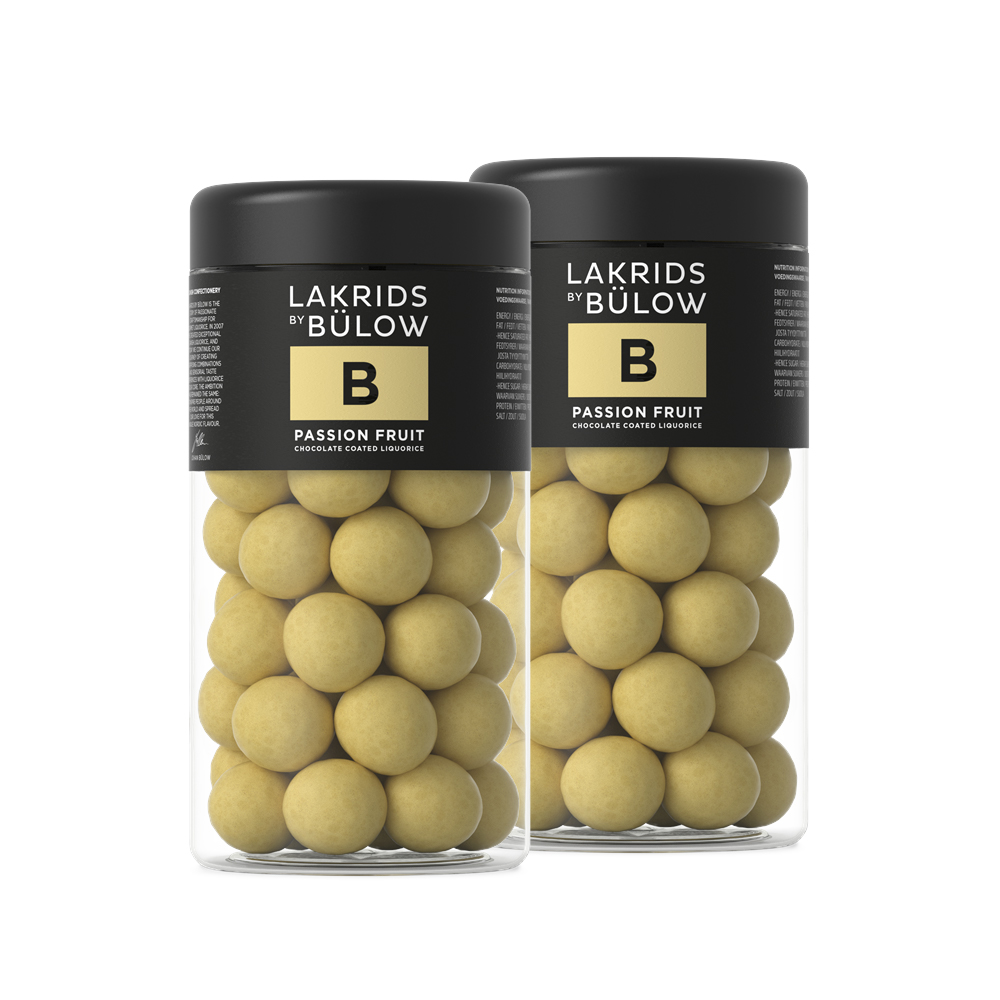 Lakrids By Bülow - 2 x Regular B - Passion Fruit Choc Coated Liquorice 295 g