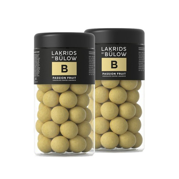 Lakrids By Bülow - 2 x Regular B - Passion Fruit Choc Coated Liquorice 295 g