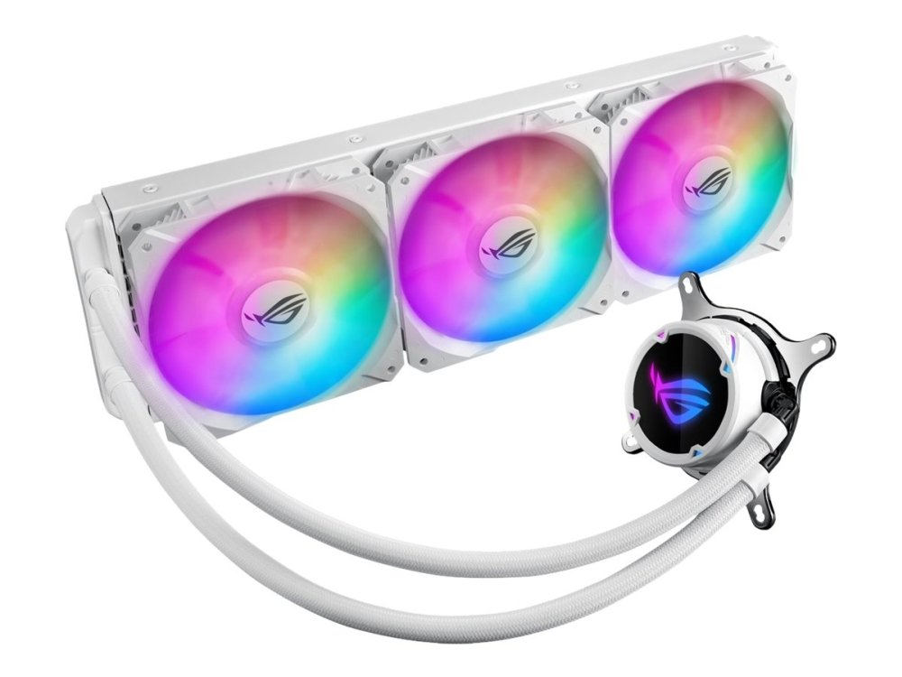Asus - Rog Strix LC 360 RGB White Edition all-in-one liquid CPU cooler with Aura Sync