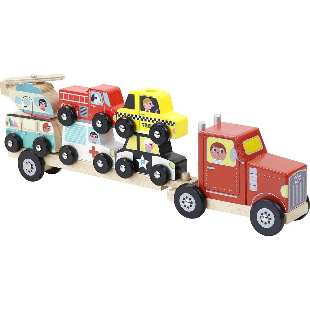 Vilac - Truck and trailer with vehicules stacking game  (7601)