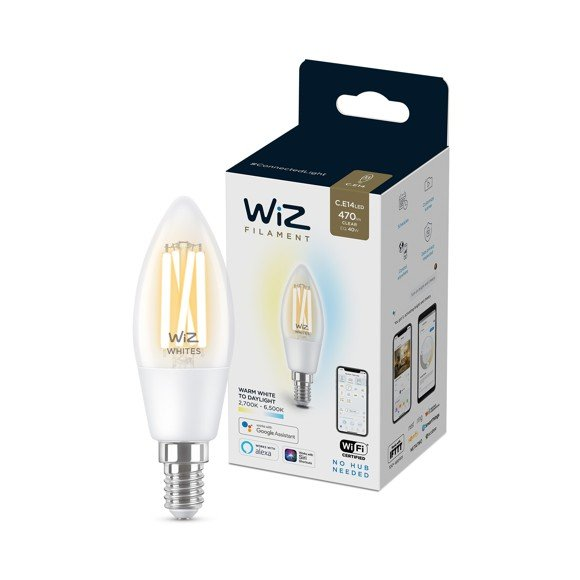 WiZ - C35 Clear Candle E14 Tunable White - Smart Home