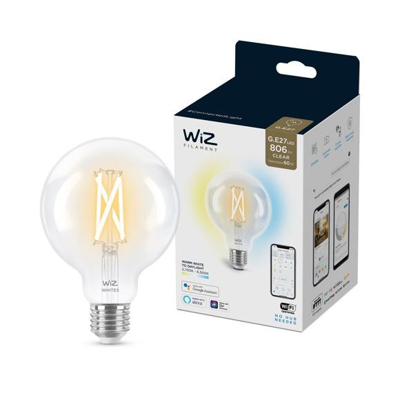 WiZ - G95 Clear Globe E27 Tunable Filament - Smart Home