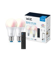 WiZ - Wi-Fi BLE Color/8.5W A60 2PK+Remote - Smart home