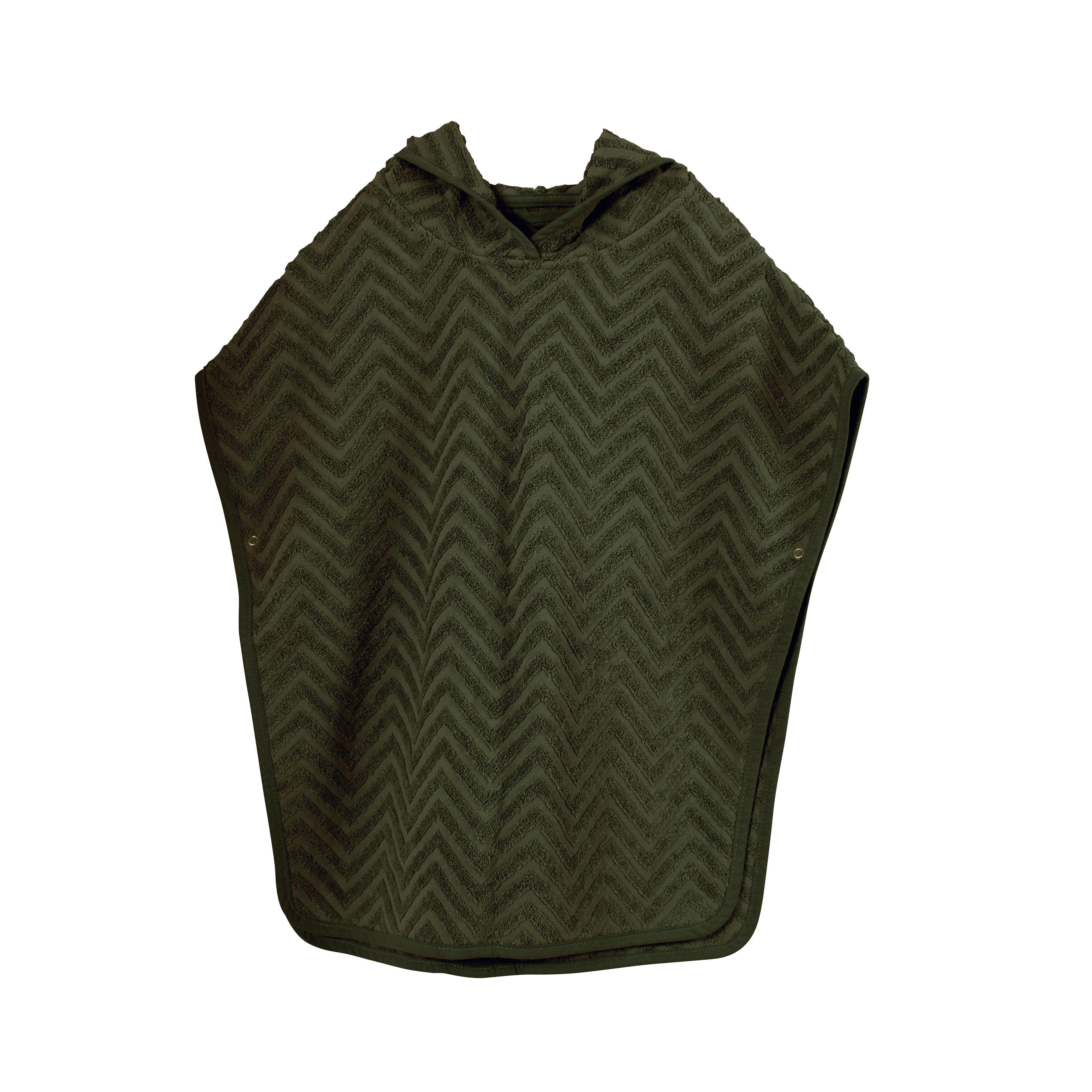 Filibabba - GOTS Organic Bath poncho - Zigzag, Dark green