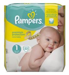 Pampers - 22 Stk Premium Baby Bleer Størrelse 1