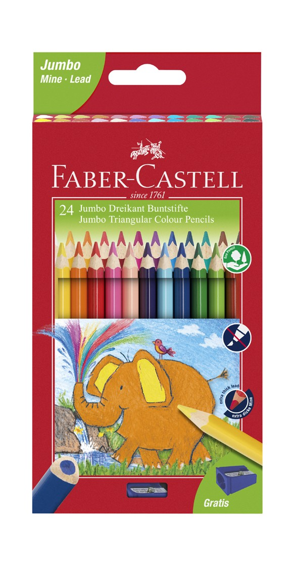 Faber-Castell - Jumbo trekantede farveblyanter, 24 stk (116524)