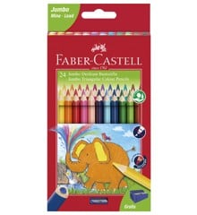 Faber-Castell - Jumbo Triangular colour pencils, wallet of 24 (116524)