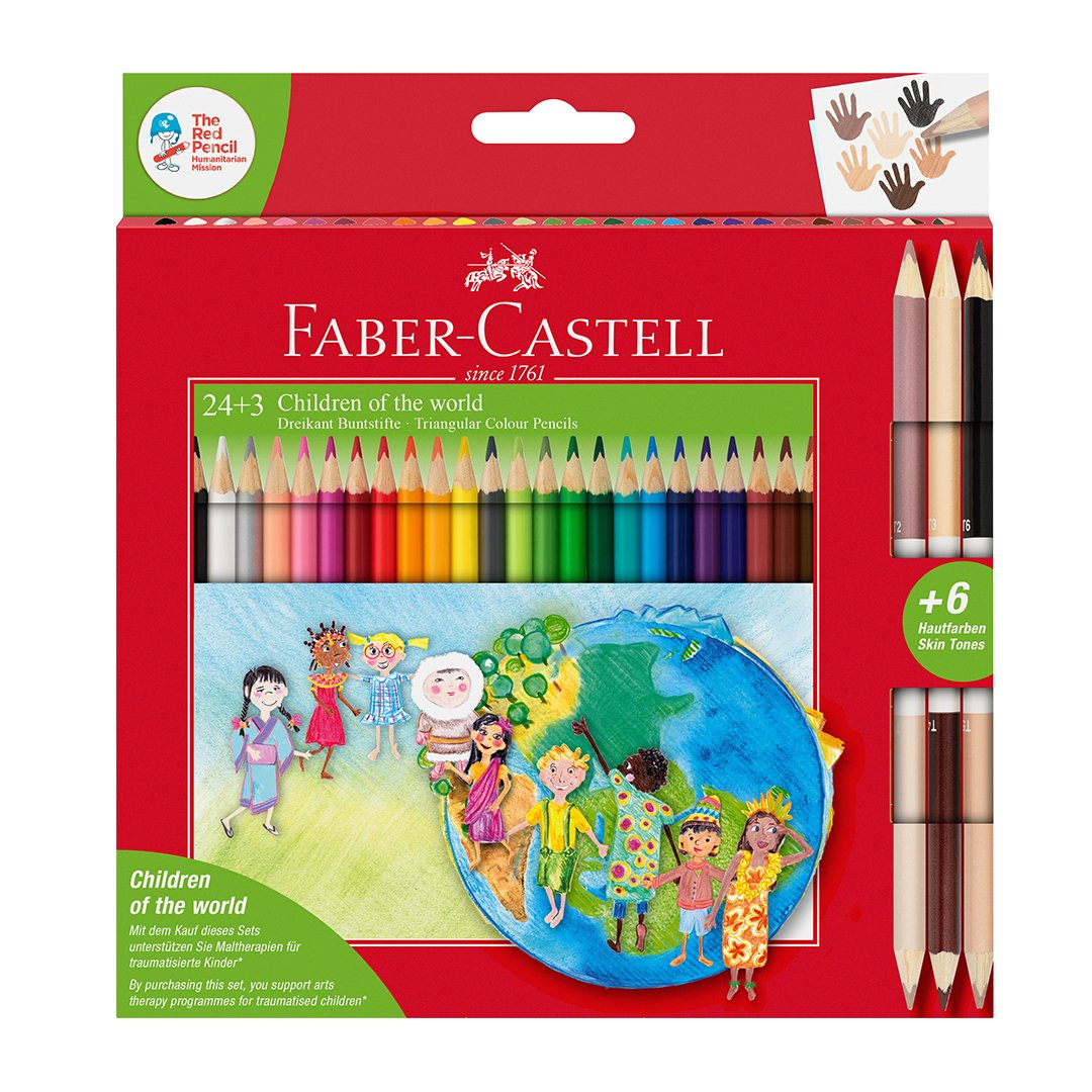 Faber-Castell - Children of the world colour pencil triangular, 24+3 (201745)