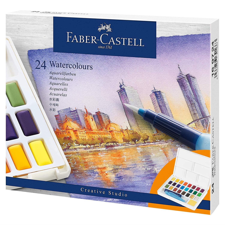 Faber-Castell - Aquarellfarben in Näpfchen 24er Etui (169724)