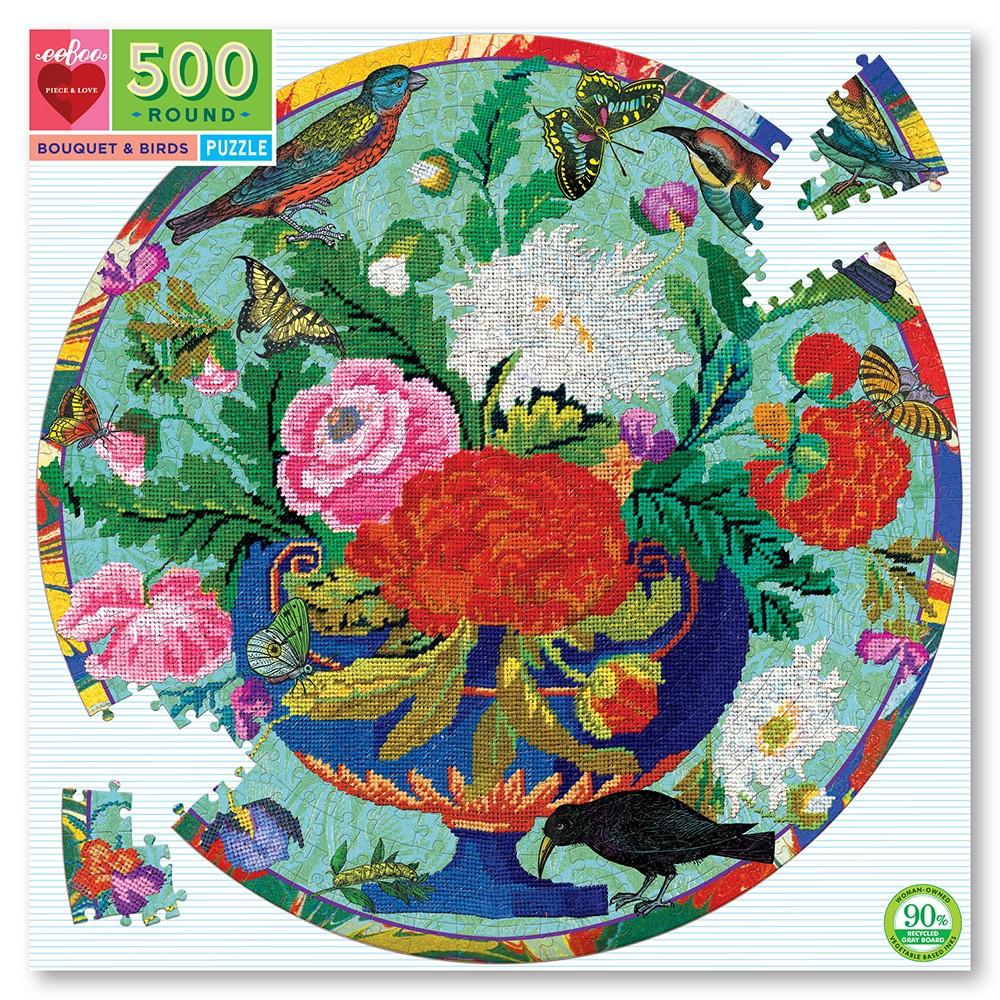 eeboo - Round Puzzle - Bouquet & Birds, 500 pc (EPZFBQB)