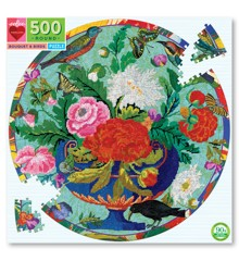 eeboo - Rundt puslespil - Blomsterbuket og fugle, 500 brikker (EPZFBQB)