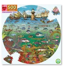 eeboo - Rundt puslespil - Fisk og både, 500 brikker (EPZFFBB)