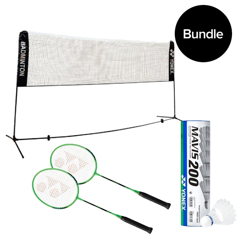 Yonex - Portable Badminton Net + 2x Rackets & 6Pack Shuttlecocks - Bundle
