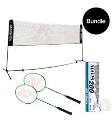 Yonex - Transportabelt badmintonnet + 2x Badmintonketchere & 6pack Fjerbolde - Bundle
