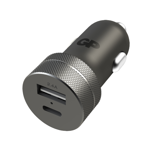 GP - USB Car Charger - Black (1 x USB A + 1 x USB C) (405130)
