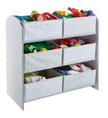 White Kids Bedroom Toy Storage Unit with 6 Bins (471GWH01EM)