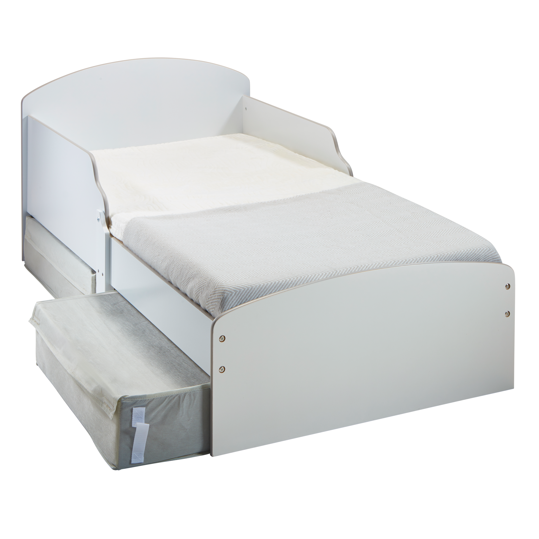 Kids White Toddler Bed with Storage (516GWH01EM)
