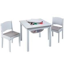 Bord og Stole Sæt - Hvid (med opbevaring)