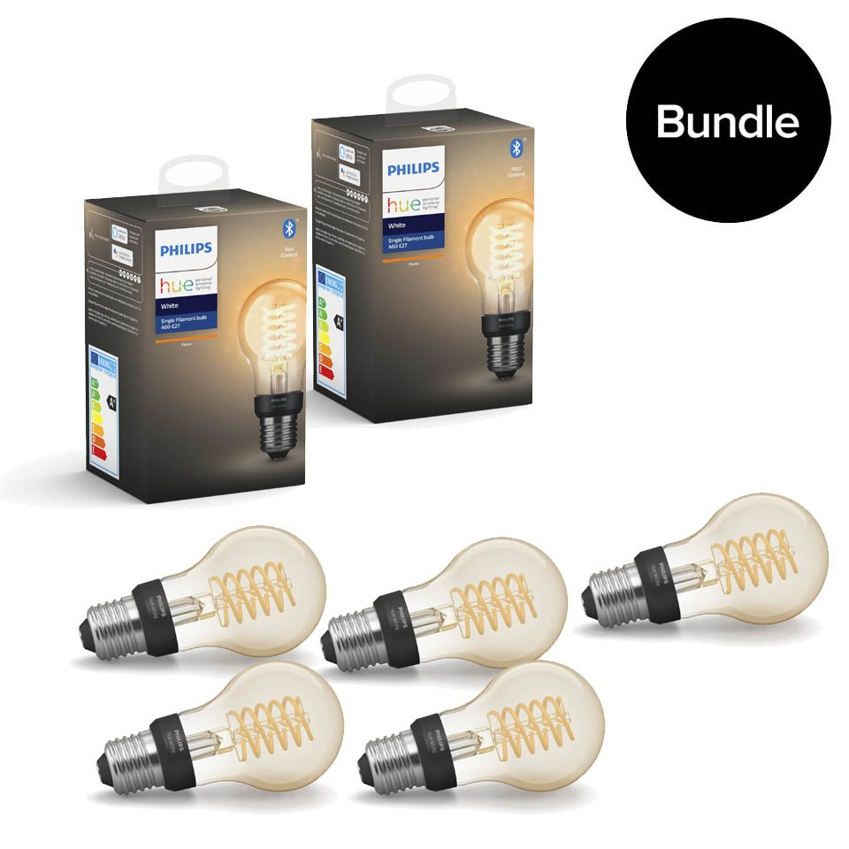 Philips Hue - 5xE27 Filament A60 - White - Bluetooth - Bundle