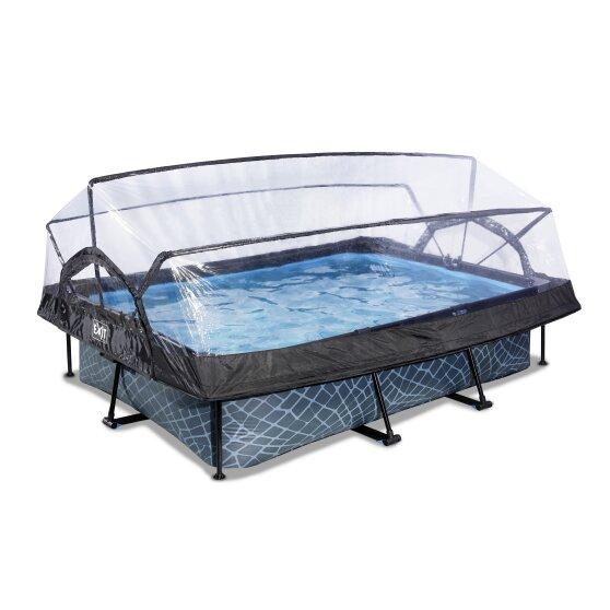 EXIT - Stone Pool 300x200x65cm w/Dome & Filter Pump - Grey (30.20.32.00)