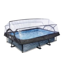 EXIT - Stone Pool 300x200x65cm w/Dome & Filter Pump - Grey (30.20.32.00)
