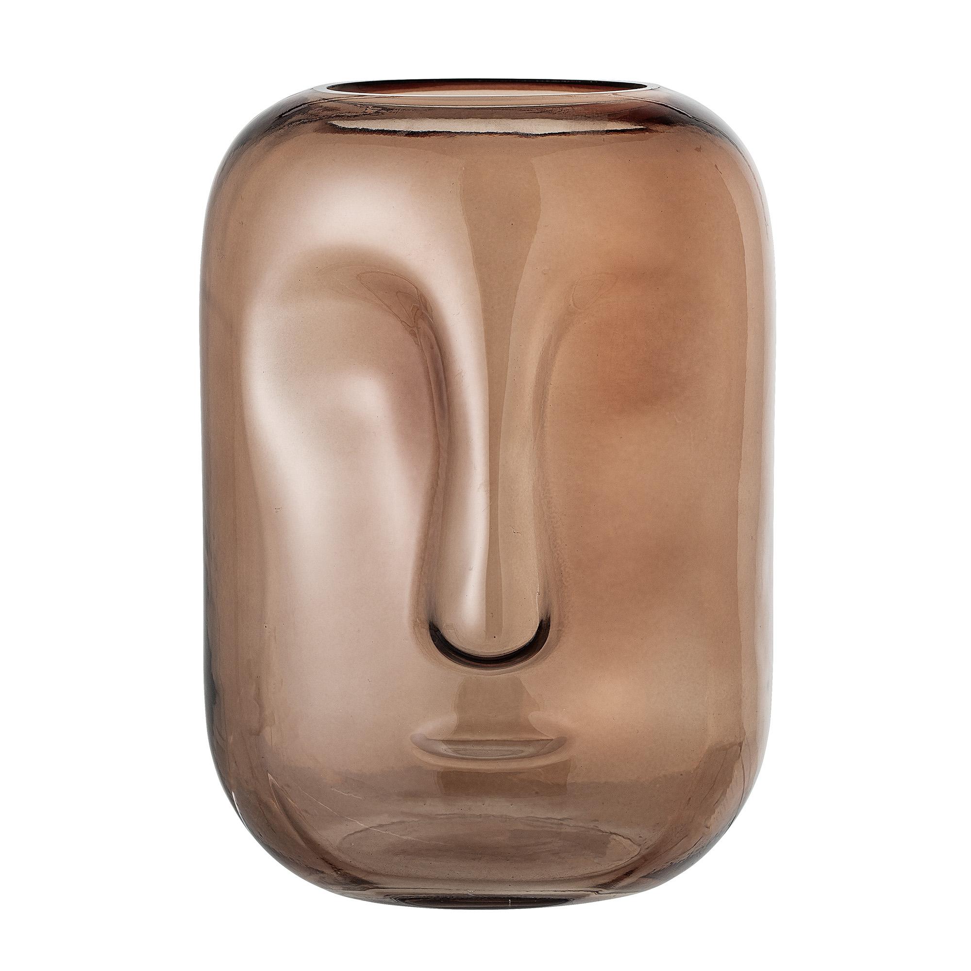 Bloomingville - Face Glass Vase Ø 18 cm - Brown (82047485)