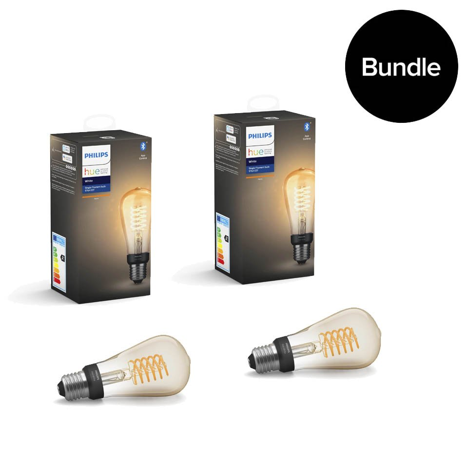 ​Philips Hue - 2xE27 Filament ST64 - Warm White - Bluetooth Bundle