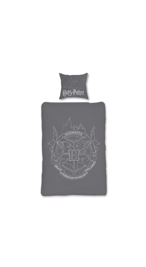 Sengetøj - Voksen str. 140 x 200 cm - Glow in The Dark - Harry Potter