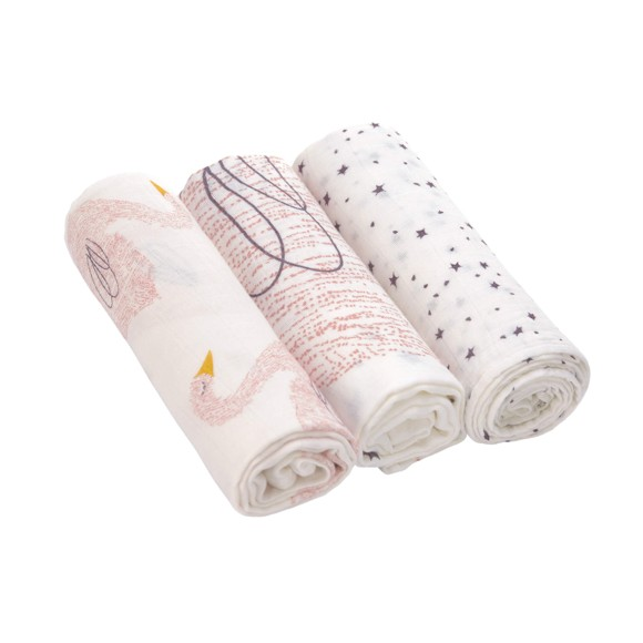 Lässig - Large Bamboo Swaddle Cloths, 3 pc - Little Water Swan (291312001741)